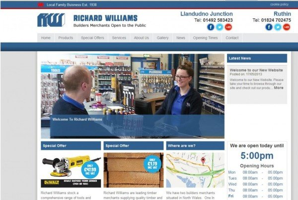 Richard Williams Builders Merchants build their Profile Online
